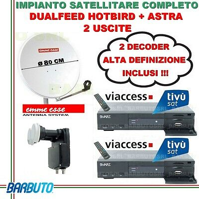 Kit Satellitare Dualfeed 2 Uscite + 2 Decoder Hd, Parabola, Lnb Twin
