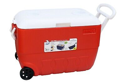 60L Coolbox Red Or Blue Cooler Box With Wheels Picnic Ice Food Insulated Travel