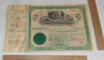 1911 Tom Reed Gold Mines - cancelled - 250 SHARES STOCK Certificate