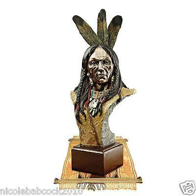 """20.5"""" Native American Bust Sculpture Chief W/ Eagle Feather Headdress"""