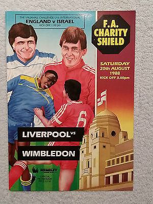 1988 - CHARITY SHIELD PROGRAMME - LIVERPOOL v WIMBLEDON - Great Condition