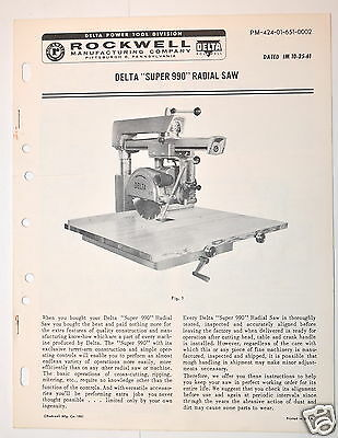 DELTA SUPER 990 RADIAL Arm SAW Manual  RR94 installation operation adjust 1961