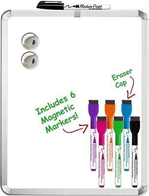 "Magnetic Dry Erase Board 11"" x 14"" + 6 SRX Magnetic Dry Erase Markers VALUE PACK"