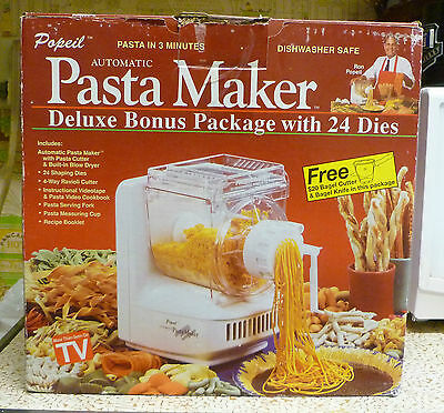 Popeil Automatic Pasta Maker & Sausage Maker 24 Dies Tape Manual Box - EUC