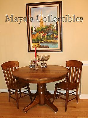 Antique Ornate Quarter Sawn Tiger Oak Dining Table & Chairs Gorgeous!!!