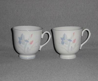 Excel Fresh Flowers Iris Pattern Coffee/Tea Cups Set of 2 China No Chips*