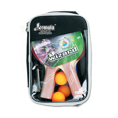 4 Player SET WIZARD Table Tennis Ping Pong Bats Set 4 x Table Tennis Balls Net