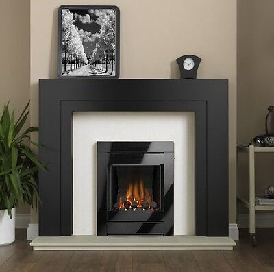 black wall inset gas fire coal fireplace open fronted. Black Bedroom Furniture Sets. Home Design Ideas