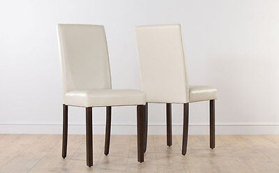 2 4 6 8 City Ivory Leather Dining Room Chairs Dark Leg