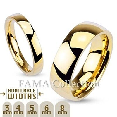 FAMA Stainless Steel Polished Gold IP Traditional Wedding Band Ring Select Size