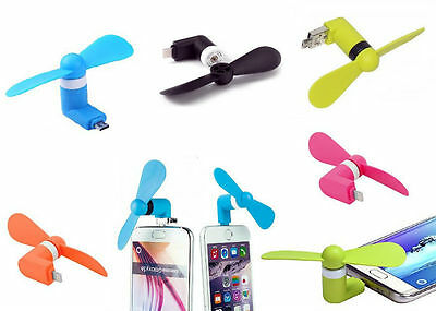 MINI VENTILATORE PORTATILE USB MICRO-USB per PC SMARTPHONE IPHONE SAMSUNG TABLET
