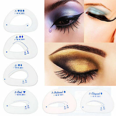6Pcs EYESHADOW Eyebrow Eye Stencil Models Template Shaper Beauty Makeup Tool UK
