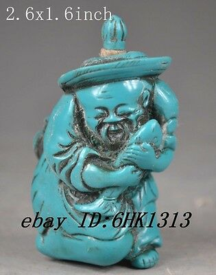 China's old handmade exquisite decorations turquoise snuff bottle - the old man