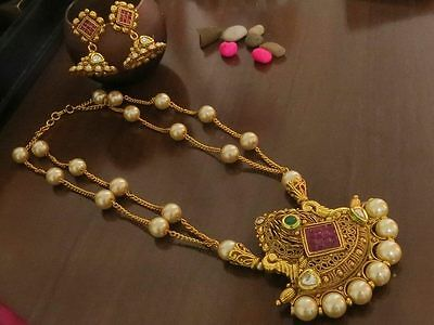 Gold Plated Indian Bollywood Wedding Traditional Kundan Pendant Necklace Earing