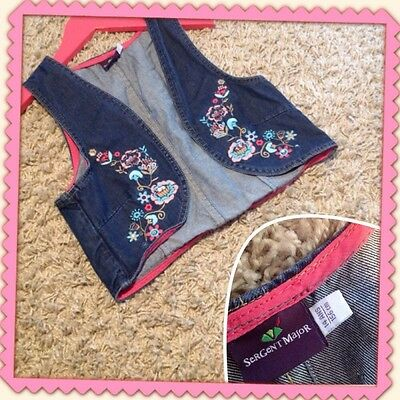 Gilet Fleurs Jean SERGENT MAJOR fille 12-14 ans TTBE sergent major