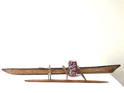 "HUGE 39"" LONG Antique KAYAK Inuit Native American Hand MadWooden Canoe .SEE PICS"