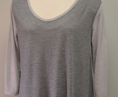 NWT Liz Lange Gray Knit Burnout Top XXL Soft Tee Scoop Neck 3/4 Sleeve