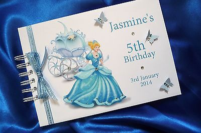 A5 Birthday Album/ Guest Book / Scrapbook Cinderella Personalised (1555Bk)