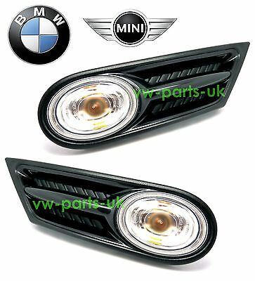 Genuine BMW Mini R55 R56 R57 Clear Side Indicator Repeater Scuttle Trims & Bulb