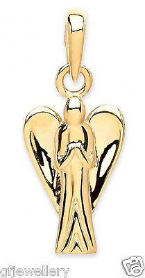 Solid Hallmarked 9Ct Gold Angel Pendant - Yellow Gold - Chain Optional