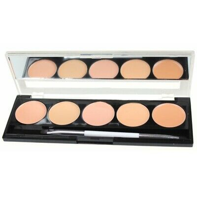 W7 Makeup Make Up Camouflage Kit Crema Concealer Palette 5 Shades Mirror & Brush