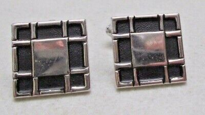 Vintage Men's Cufflinks Square Silver Tone Black Cut Out Border Unsigned