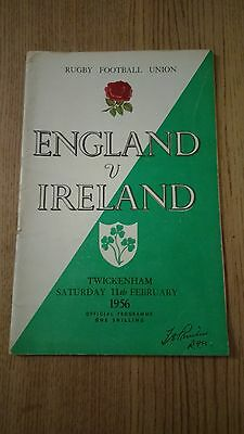 England v Ireland 1956 Rugby Programme