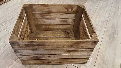 3 x BURNT TOURCHED WOOD VINTAGE WOODEN APPLE FRUIT CRATE RUSTIC OLD BUSHEL BOX/