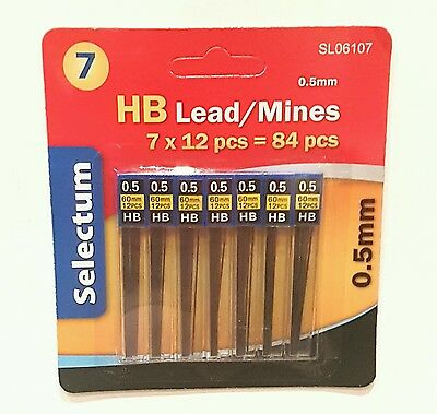 0.5 HB Mechanical Pencil lead Refill 84 Pcs High Quality Leads ( 7 packs of 12 )
