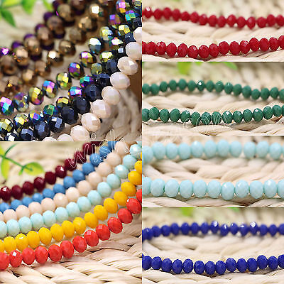 Hot Rondelle Faceted Crystal Glass Loose Spacer Beads Making 4/6/8/10mm DIY