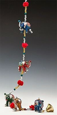 """Bell on Beaded String w/ 5 Laquered Elephants 36"""" Long Rajasthani Collectable"""