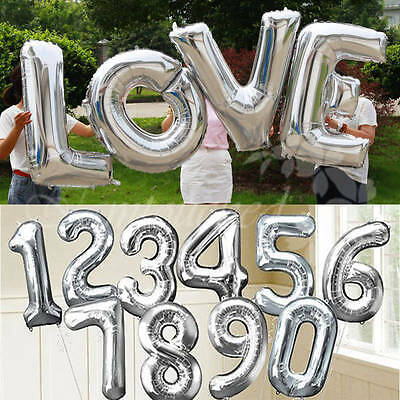 """40"""" Large Silver Foil Letter Number Balloons Wedding Birthday Party Decorations"""