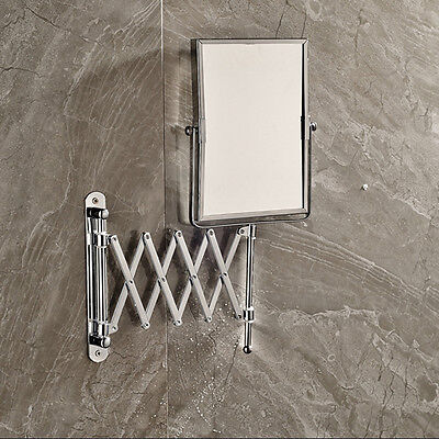 New Chrome Brass Frame Foldable Wall Mount Make Up Mirror Square Beauty Mirror