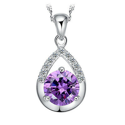 Womens Solid 925 Silver Necklace Amethyst Crystal Pendant Fashion Jewelry Gift