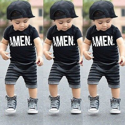 Amen Print Toddler Baby Boys t-Shirt & Striped Shorts Sets Kids Outfits Clothes