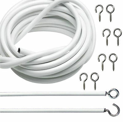 10ft CURTAIN WIRE WHITE WINDOW NET CORD CABLE WITH 12 HOOKS AND EYES