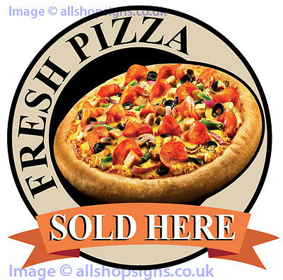 FRESH PIZZA SIGN Catering shop Sign Window sticker Cafe Restaurant decal v2