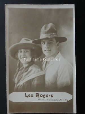 LES ROGERS Musical Gymnastic Novelty - Old RP Postcard