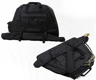 Archery Compound Bow Bag Canvas Hunting Quiver Arrow Carry Case Black 27*16''
