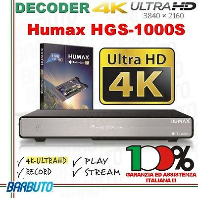DECODER TIVUSAT 4K ULTRA HD Humax HGS-1000S OK PER GLI EUROPEI 2016 IN ULTRAHD