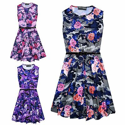 Girls Skater Dress Kids Camo Floral Print Summer Party Dresses Age 7-13 Years