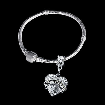 Softball bracelet Crystal heart softball charm bracelet Softball jewelry gift