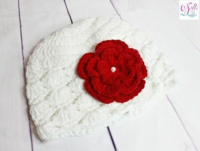 Newborn Baby Girl White Red Crochet Knitted Flower Beanie Hat Photography Prop