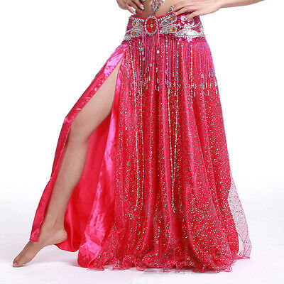 Shinning Sequins 2 layers 2 side slits Long Skirt Dress Belly Dance 10 colors