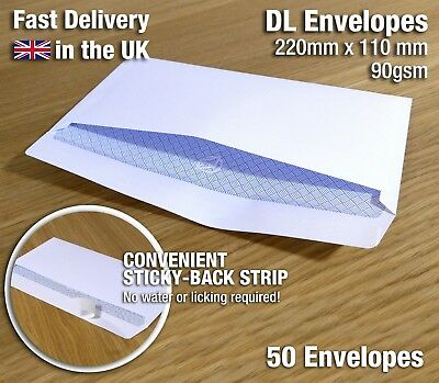 50x DL PREMIUM STRONG BLANK WHITE SELF SEAL PEEL & STICK QUALITY ENVELOPES 90gsm
