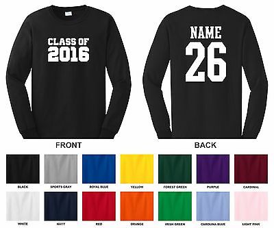 Class of 2016, 17, 18, 19, 20 Choose A Year, Name & Number Long Sleeve T-shirt