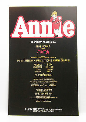 Vintage ANNIE Andrea McArdle 1977 original Broadway Musical Window Card Poster