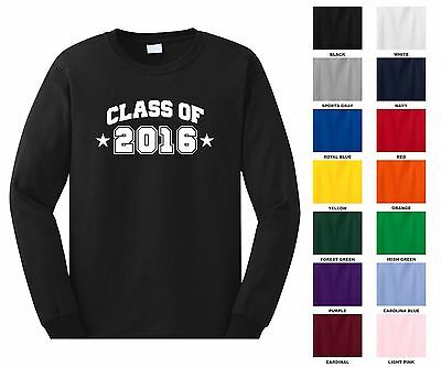 Class of 2016, 17, 18, 19, 20 Pick Year Arched Graduation Long Sleeve T-shirt