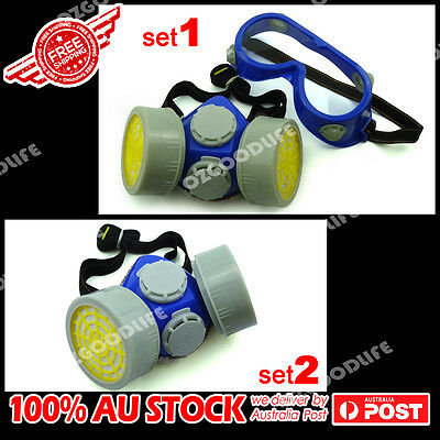 Industrial Anti-dust Safety Mask Spray Gas Dual Cartridge Respirator Goggles set