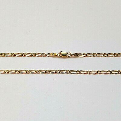 Genuine 9ct 9k Yellow Solid Gold Bevelled Diamond Cut Figaro 1.1 Ladies Anklet